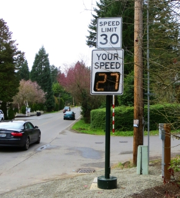 This radar sign on the north side of SE 34th Street just west of West Lake Sammamish Parkway was installed prior to the March 19 detour.