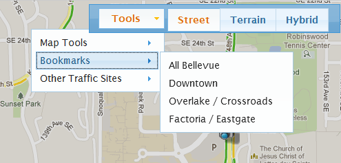 In addition to viewing Bellevue traffic and traffic cameras, you can quickly jump to other regional traffic maps.