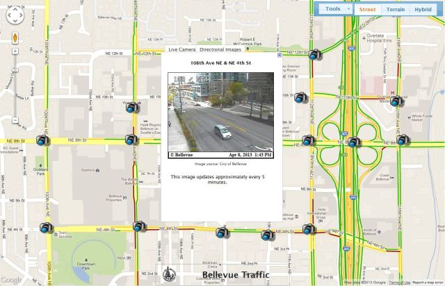 The new real-time traffic map has a familiar Google Maps interface and combines current traffic conditions with more than 70 traffic cameras situated around the City.