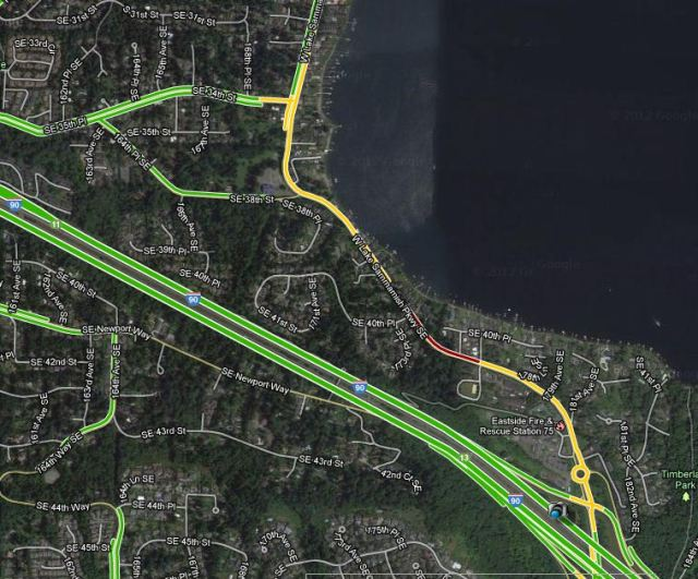 Checking traffic before you leave will help you to avoid congested areas like this stretch of West Lake Sammamish Parkway which is currently under construction.