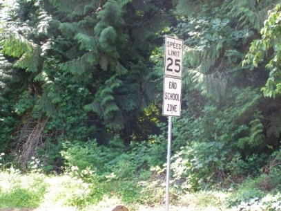 A sign indicating the end of a school zone.